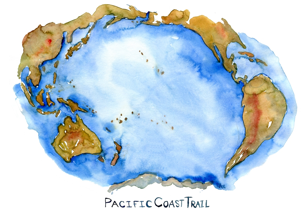 Pacific Ocean Map in watercolor by Frits Ahlefeldt, with the Pacific Coast Trail written on it
