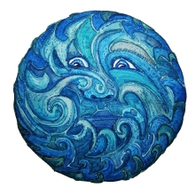 spirit of wind and water face in blue. Drawing by Frits Ahlefeldt