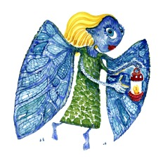 winged fairy with red lamp drawing by Frits Ahlefeldt