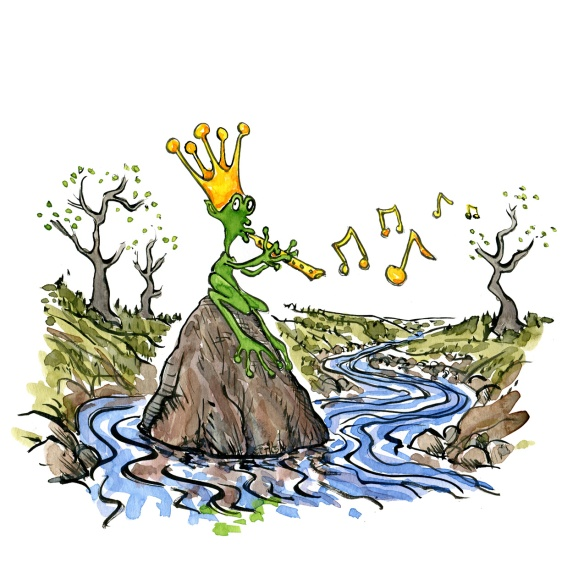 River spirit looking a bit like a frog plying flute and with a crown. Drawing by Frits Ahlefeldt