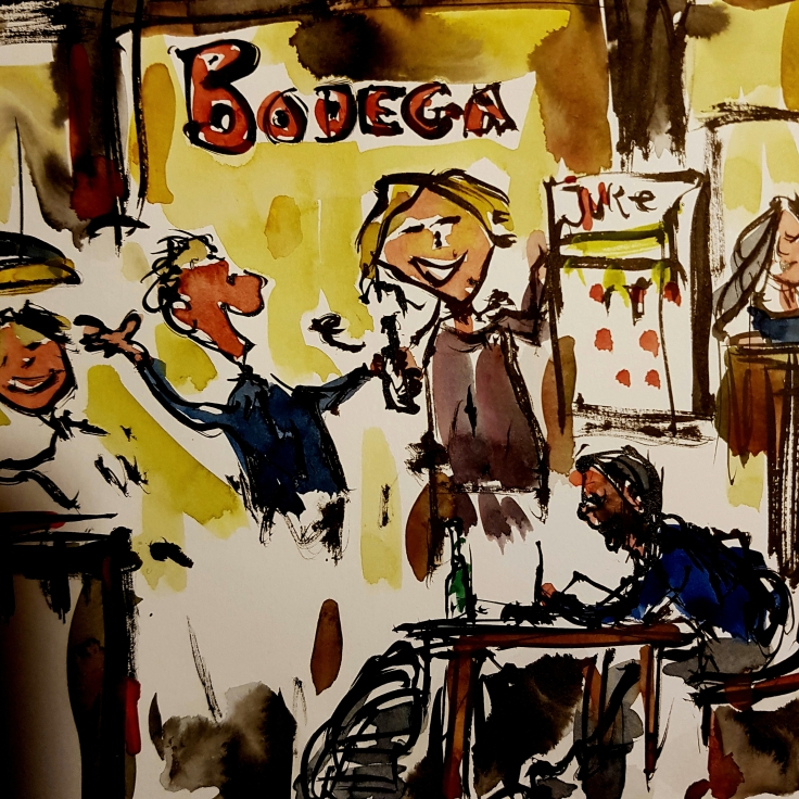 Drawing of a hiker sitting in a pub with happy and smiling locals