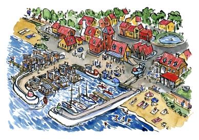 color-illustration-coast-trail-fishing-village-harbour-shelters-idea-by-frits-ahlefeldt