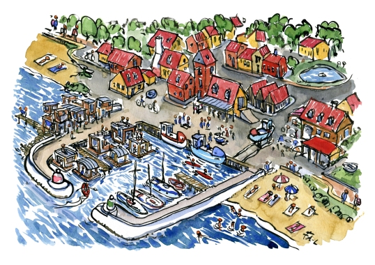 color-illustration-coast-trail-fishing-village-harbour-shelters-idea-by-frits-ahlefeldt