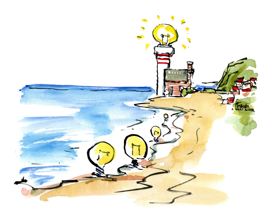 Drawing of light bulbs along the coastline