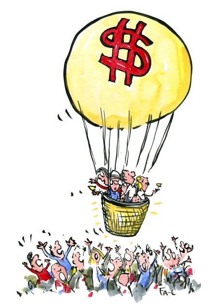 Illustration of a golden air balloon with a few very rich people, flying high over the craving crowd