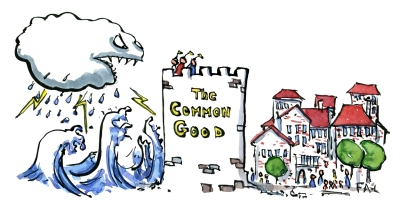 Drawing of a common good defense wall, a small city and gigantic waves of a storm surge