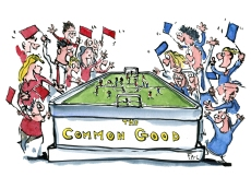 Drawings of two sports-teams playing on the foundation of the Common Good