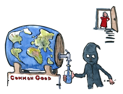 Drawing of a masked figure sneaking in to tap resources from the planet