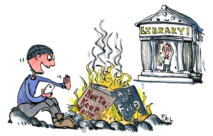 Drawing of a man burning books about how to make fire, to keep warm, while a man in a library looks on from a distance