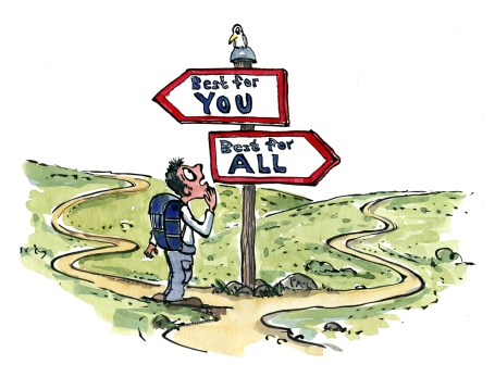 Drawing of a hiker between two signs saying the best for you and the best for all