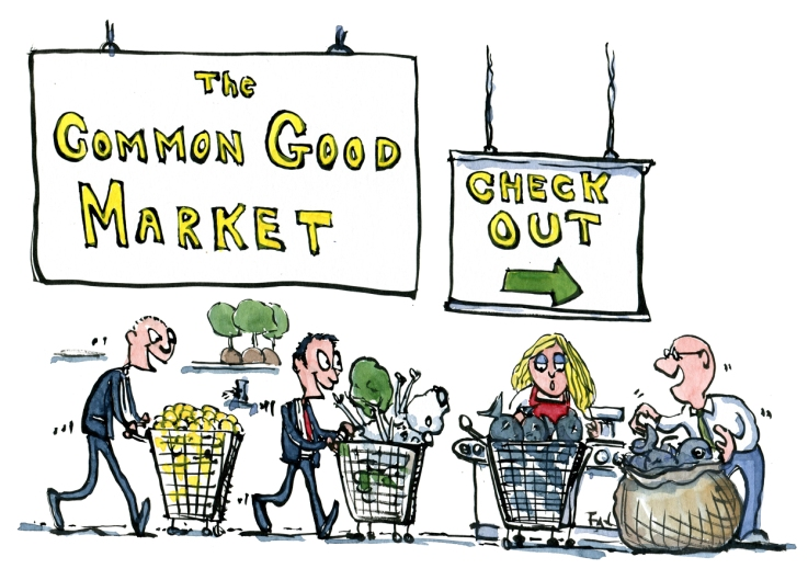 Drawing of businessmen checking out goods of the Common Good