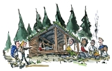 Drawing of hikers meeting at a small shelter out in the woods.