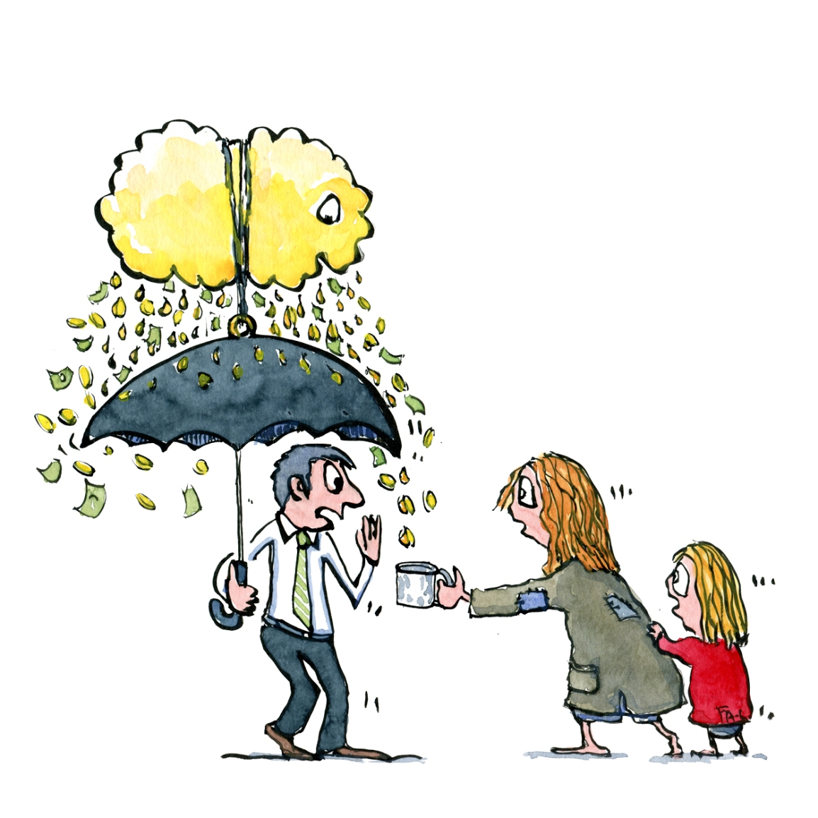 Drawing of a businessman with a tied up golden cloud over his umbrella, raining down money, dripping out to the poor