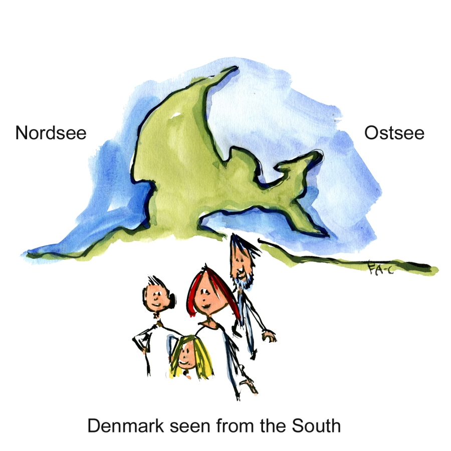 Drawing of Denmark as between The NorthSea and the Baltic Sea