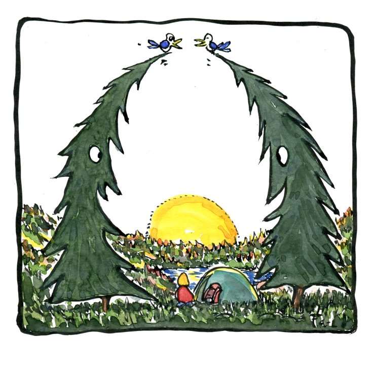 Drawing of a hiker camping between to trees, watching the sunset