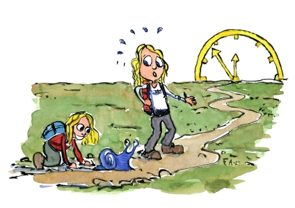 color-illustration-time-hiker-mother-daughter-trail-snail-philosophy-by-frits-ahlefeldt