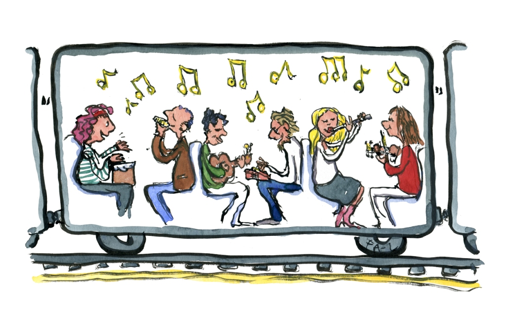 Drawing of passengers in a train playing music