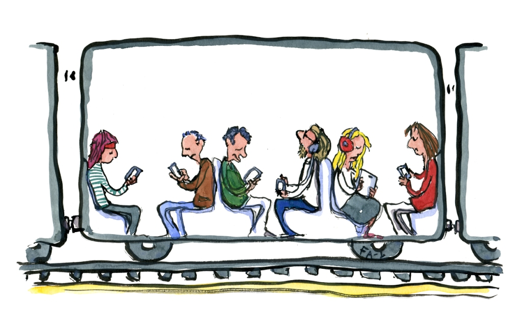 Drawing of a train with people watching phones and tablets