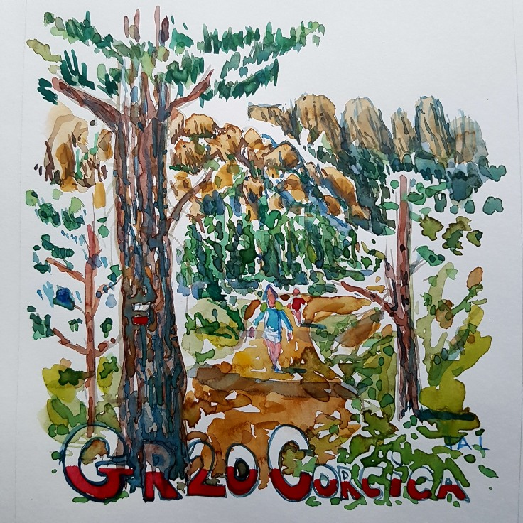 Gr. 20 Corsica hiking trail watercolor of trail with hikers, by Frits Ahlefeldt