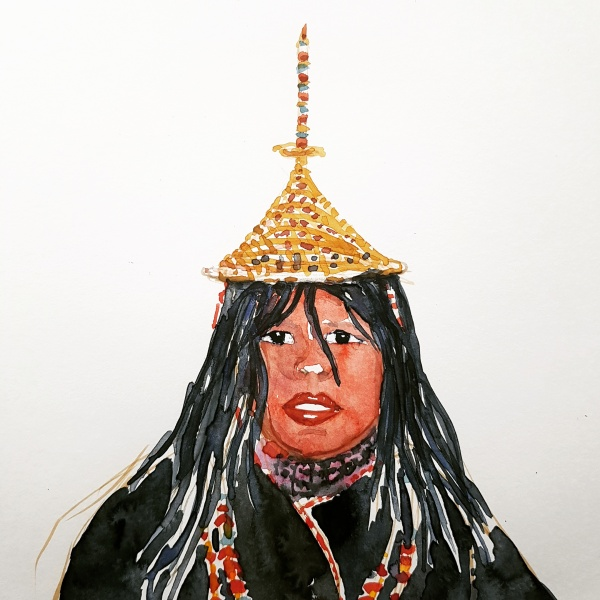 Watercolor of Layap woman Bhutan, painting by frits Ahlefeldt
