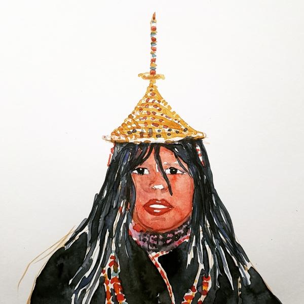 Watercolor of Layap woman Bhutan, painting by frits Ahlefeldt