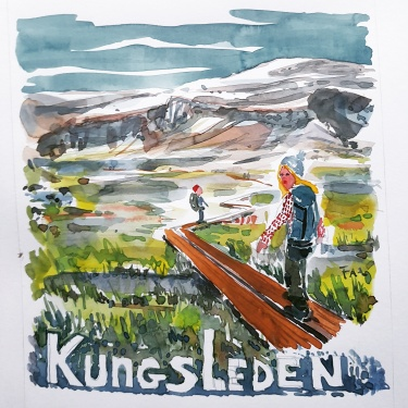 illustration of Kungsleden Sweden with two hikers crossing a wet area on wooden plank