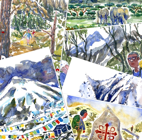 Watercolors of hiking trails, painting by Frits Ahlefeldt