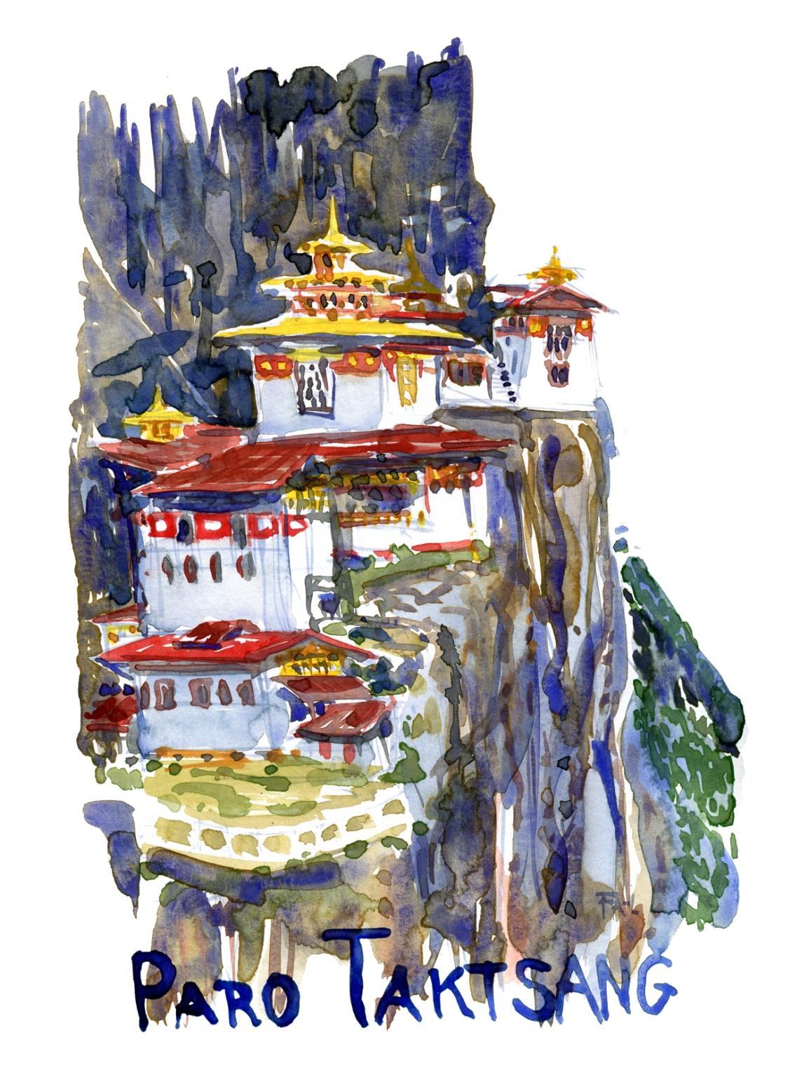 Watercolor of Paro Taktsang in Bhutan