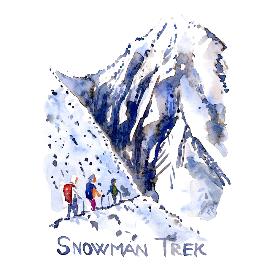 Three hikers on the Snowman trail - watercolor by Frits Ahlefeldt