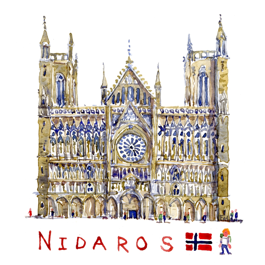 Watercolor of the Nidaros Cathedral, dome, Norway. Watercolor by Frits Ahlefeldt
