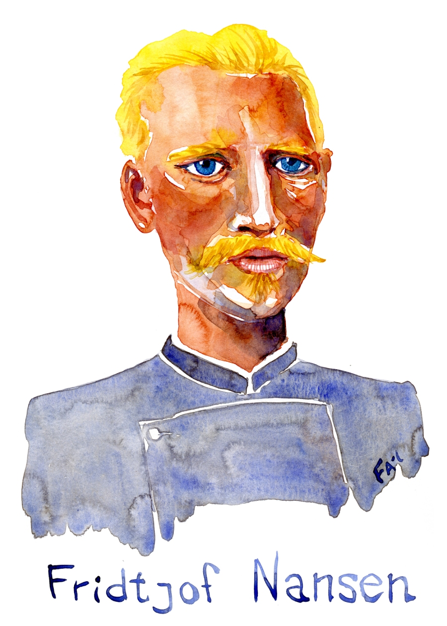 Watercolor portrait of Norwegian explorer Fridjof Nansen, Painting by Frits Ahlefeldt-Laurvig