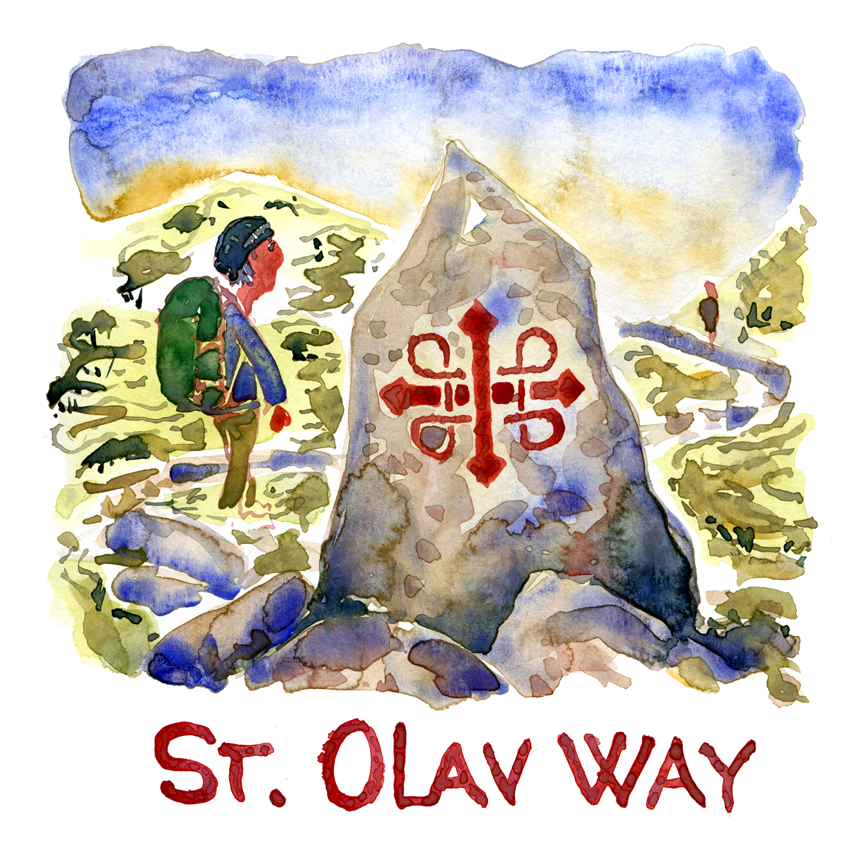 Watercolor of hiker walking along the St. Olav Way in Norway, a stone showing the trail mark beside him