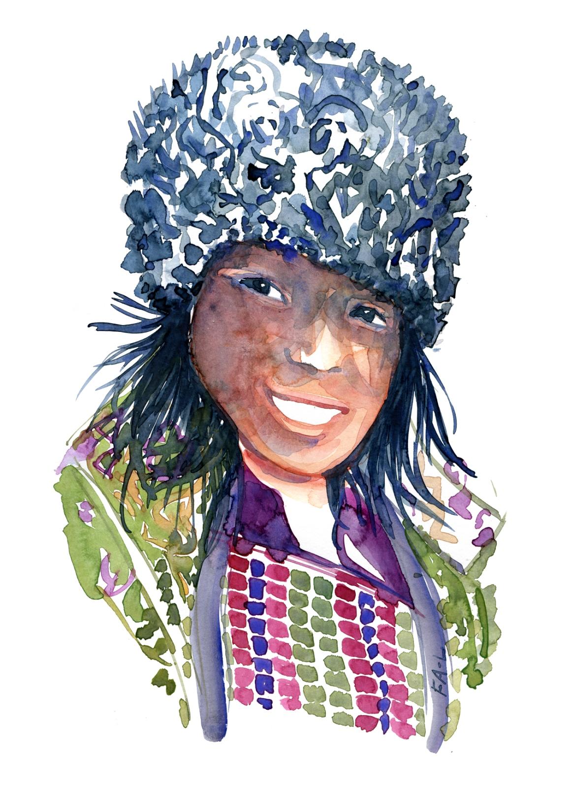 Bhutan woman Watercolor by Frits Ahlefeldt