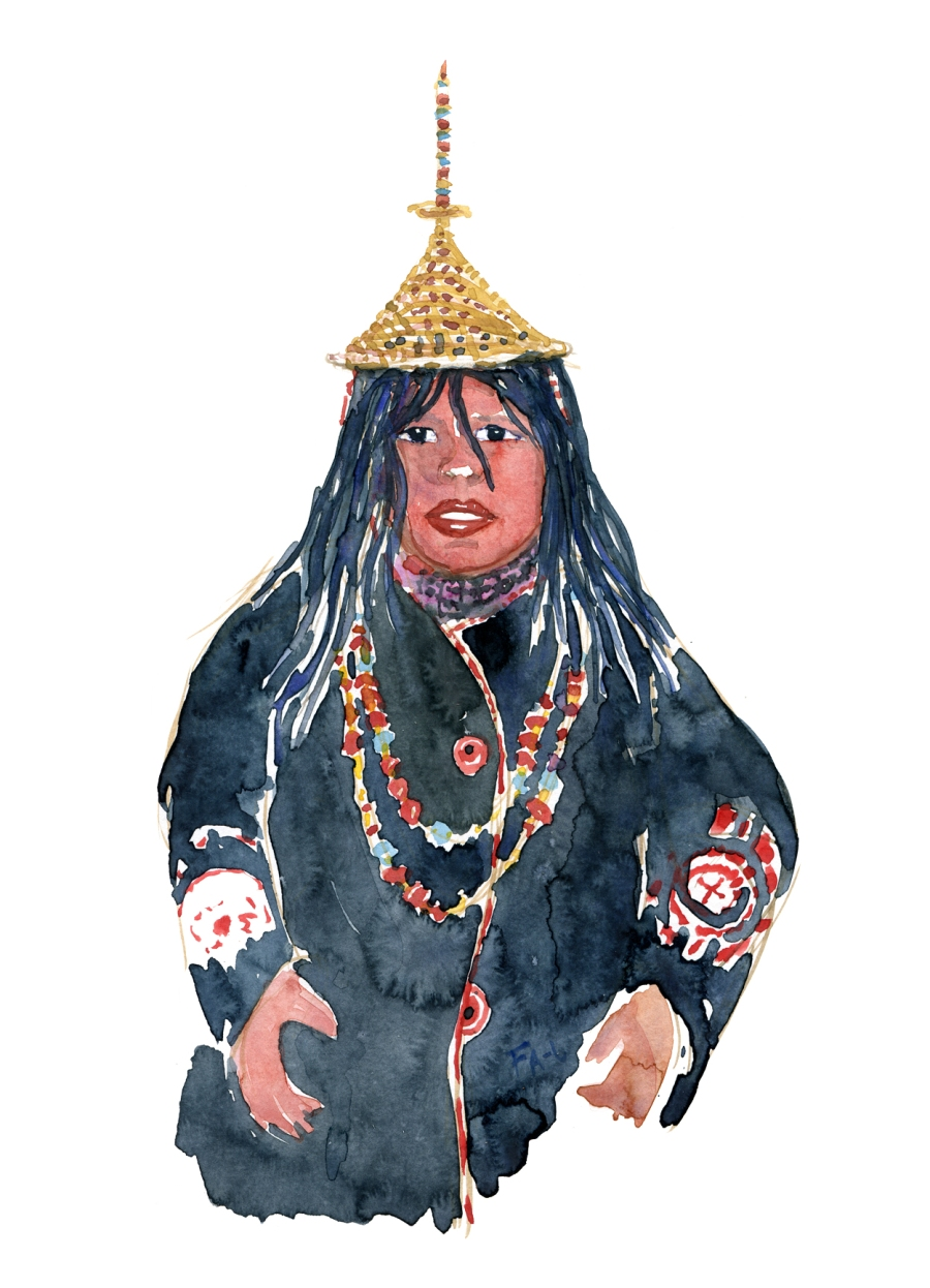 Watercolor of Layjap woman with conical hat