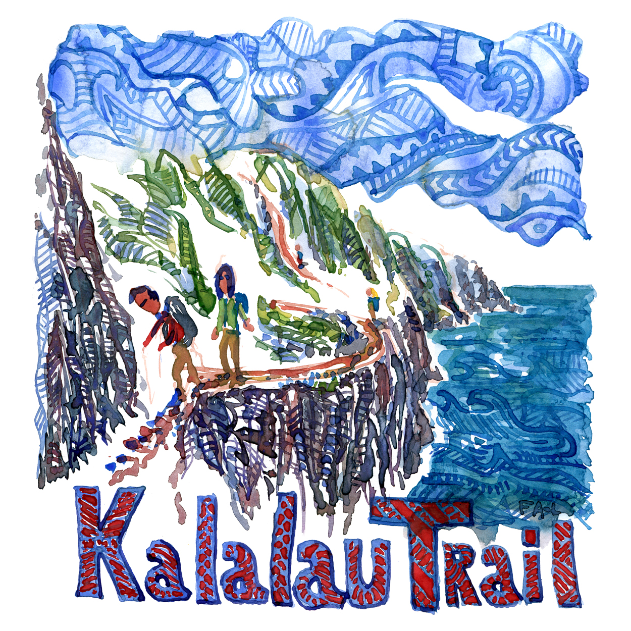 Watercolor painting of the Kalalau Coast Trail, tribal look, illustration by Frits Ahlefeldt