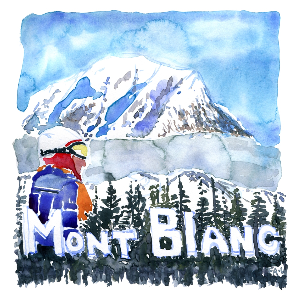 Watercolor of tour de Mont Blanc, painting by Frits Ahlefeldt