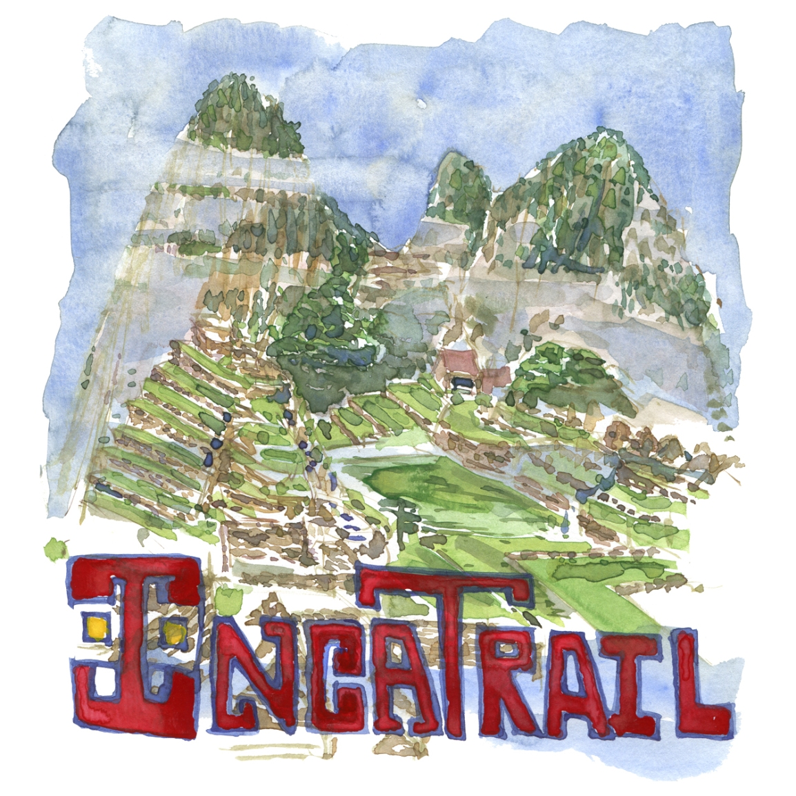 Drawing of the Macchu Picchu Inca citadel with the text Inca Trail written in red - Watercolor by Frits Ahlefeldt