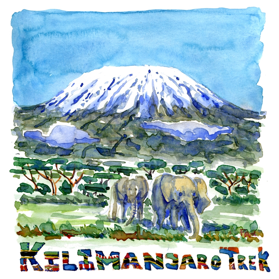 Mount Kilimanjaro with two elephants watercolor by Frits Ahlefeldt