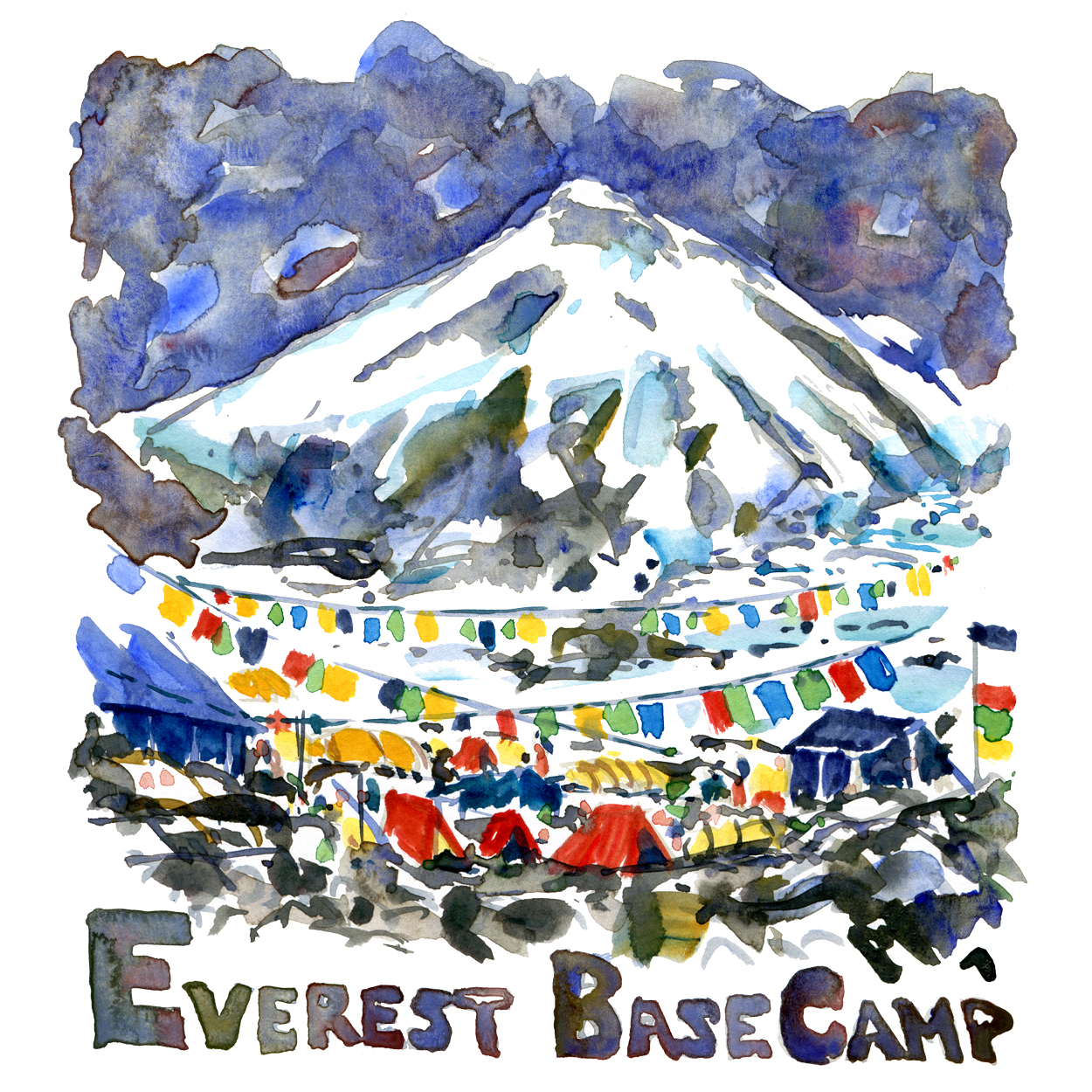 Mount Everest Basecamp Watercolor illustration by Frits Ahlefeldt
