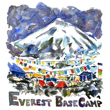 Mount Everest Basecamp Watercolor illustration by Frits Ahlefeldt