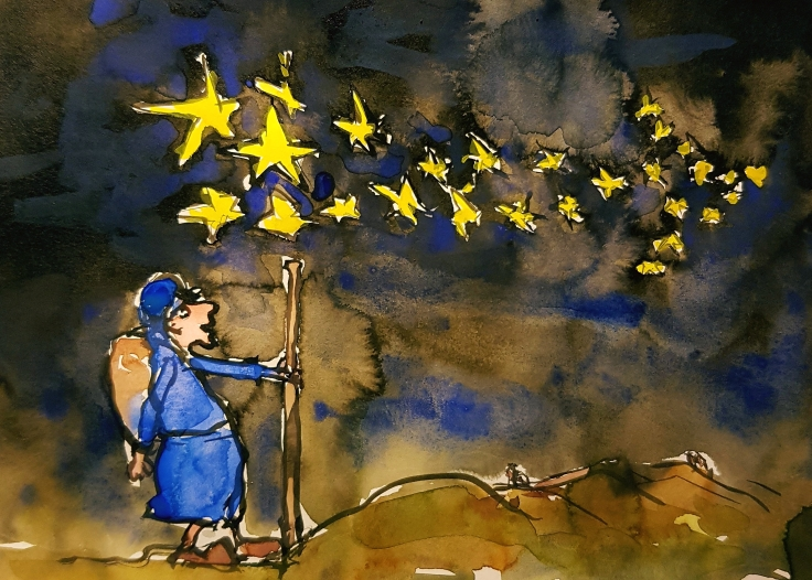 Hiker at night under stars looking like an arrow pointing the way. illustration by Frits Ahlefeldt