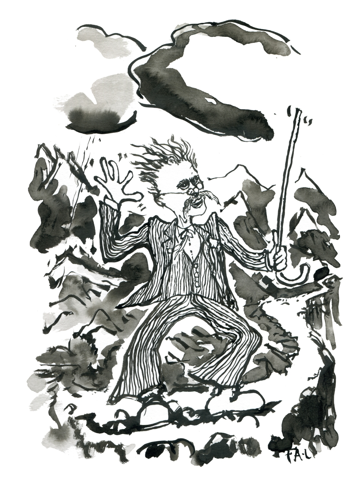 Portrait of Friedrich Nietzsche on a mountain trail. German philosopher. Ink drawing by Frits Ahlefeldt