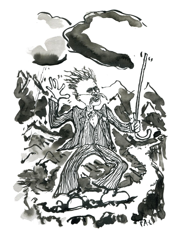 Portrait of Friedrich Nietzsche on a mountain trail. German philosopher. Ink drawing by Frits Ahlefeldt