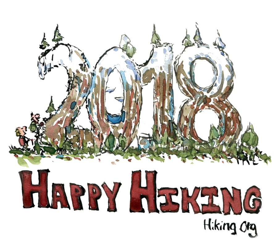 "Drawing of landscape with 2018 on it and the words ""happy Hiking"""