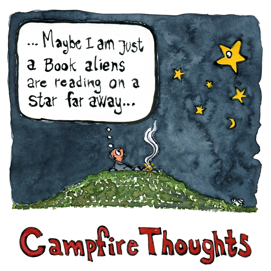 Man sitting at campfire thinking maybe I am just a book aliens are reading on a star, while the stars and a white rabbit watch him