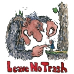 Hiker being explained not to litter by a big troll Leave no Trash text, illustration by Frits Ahlefeldt