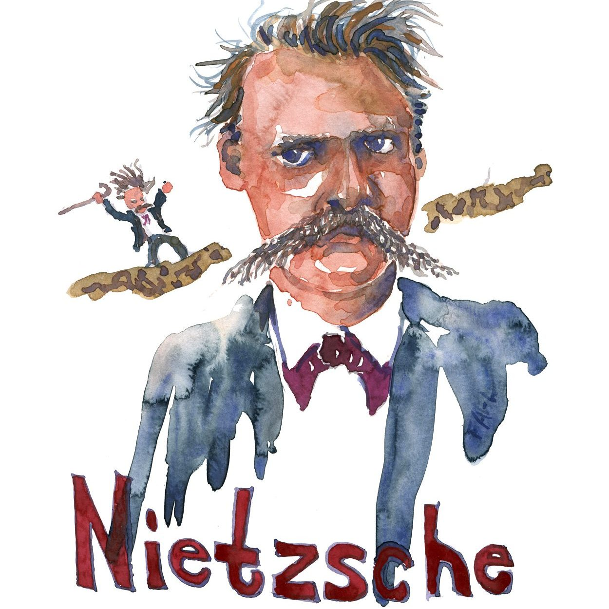Watercolor portrait of Friedrich Nietzsche by Frits Ahlefeldt