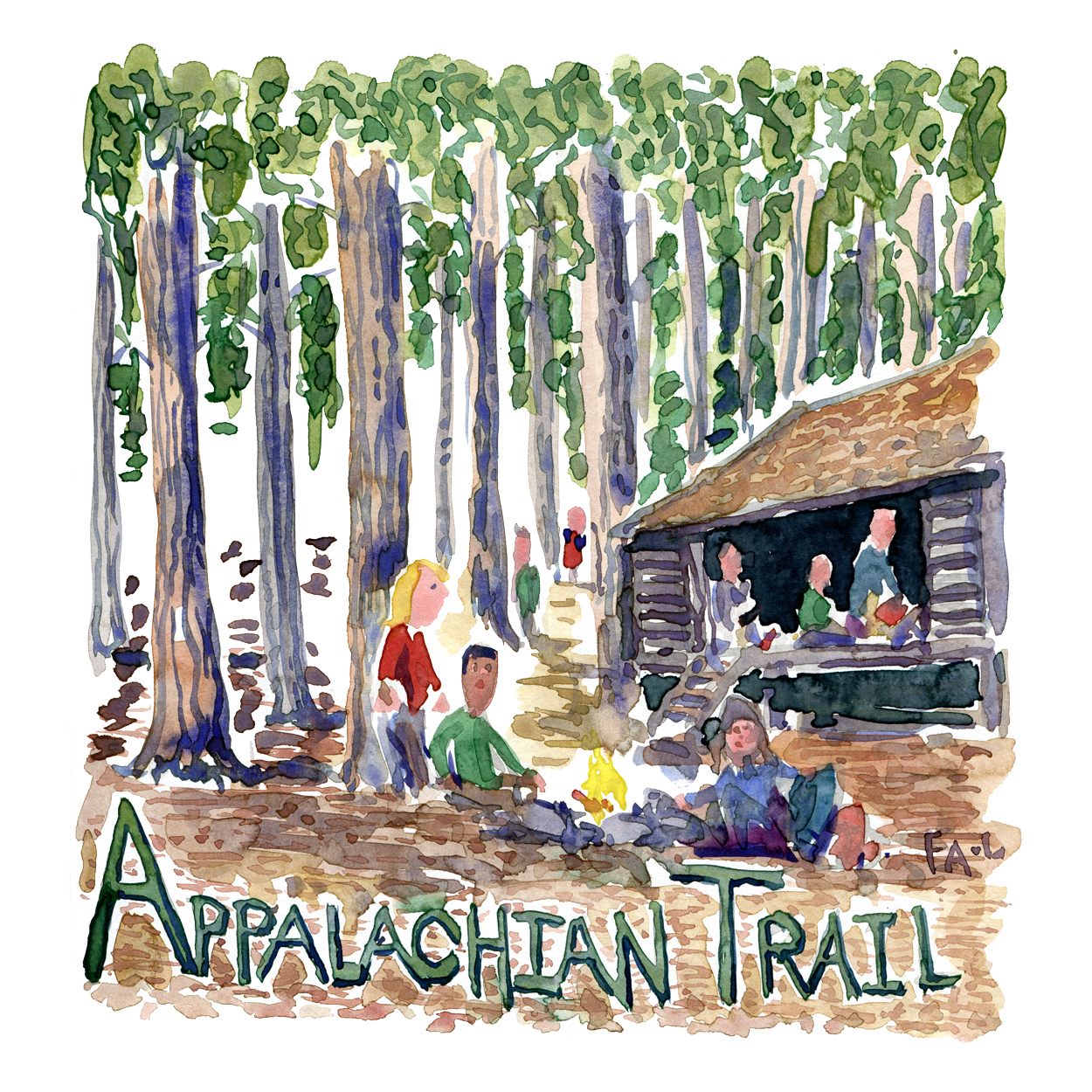 Hikers around a shelter in a forest with the text Appalachian trail in front, Watercolor illustration by Frits Ahlefeldt