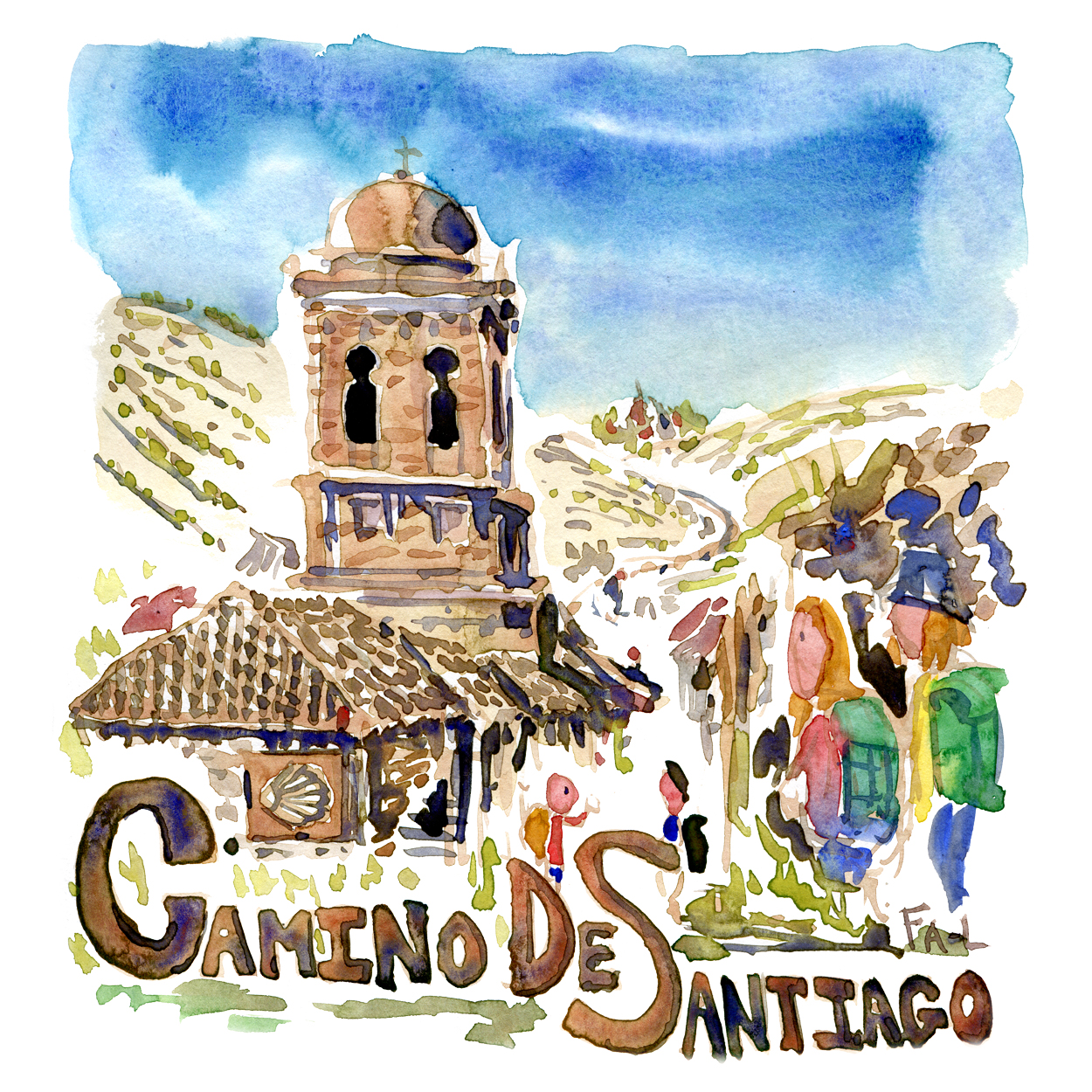 Watercolor of the Camino De Santiago pilgrimage trail, painting by Frits Ahlefeldt