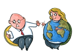 Busy businessman looking at phone while mother Earth reach out to hug him, illustration by Frits Ahlefeldt
